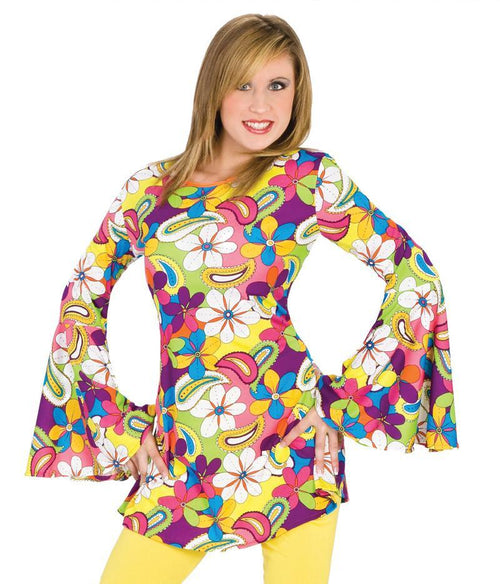 Funny Fashion Costumes Adult Flower Power Tunic - Small