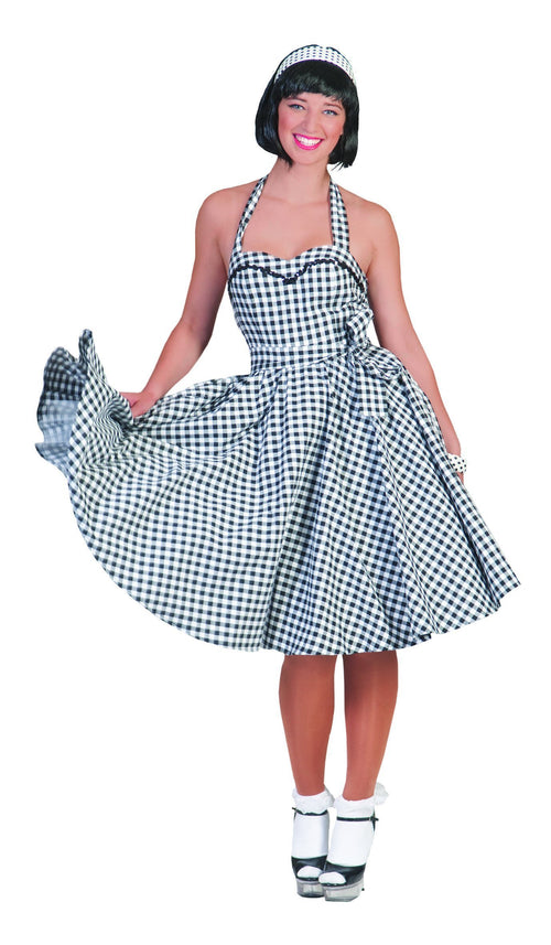 Funny Fashion Costumes Adult Rock'n Roll Checkered Dress with Headband
