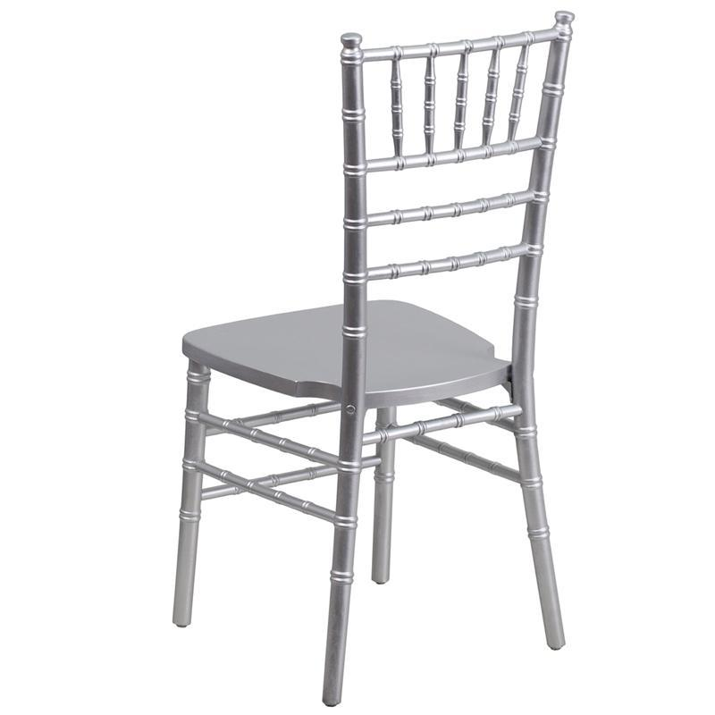 JJ's Party House Rental Chairs Silver Wood Stacking Chiavari Chair