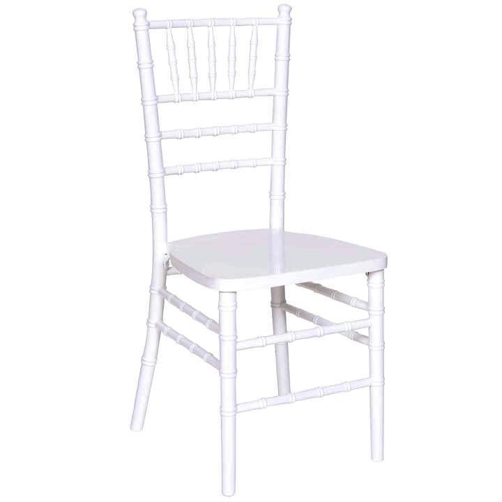 JJ's Party House Rental Chairs White Wood Stacking Chiavari Chair