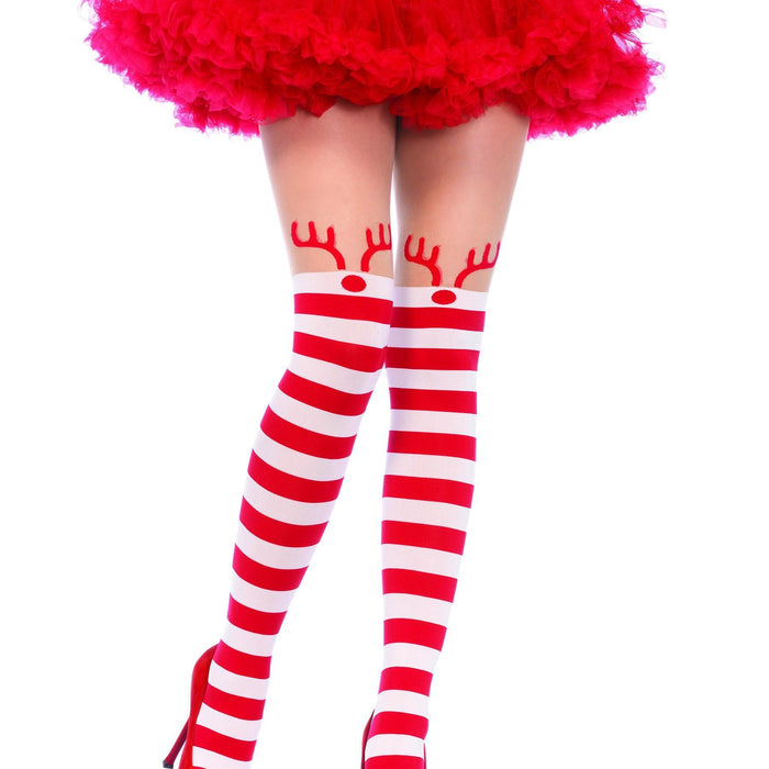 Leg Avenue Christmas Rudolph Striped Pantyhose