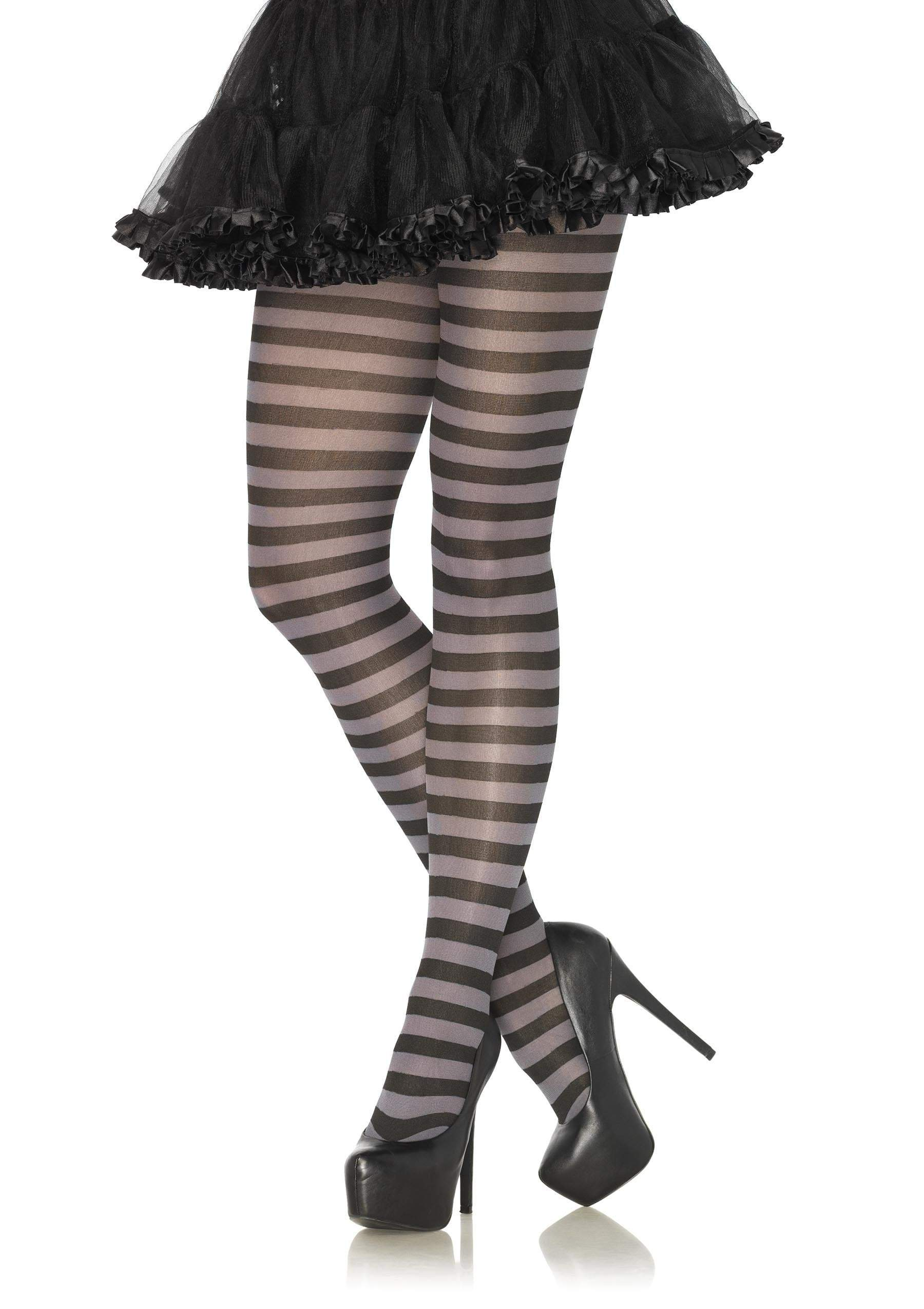 Leg Avenue Costume Accessories BLACK/GREY / O/S Adult Nylon Stripe Tights