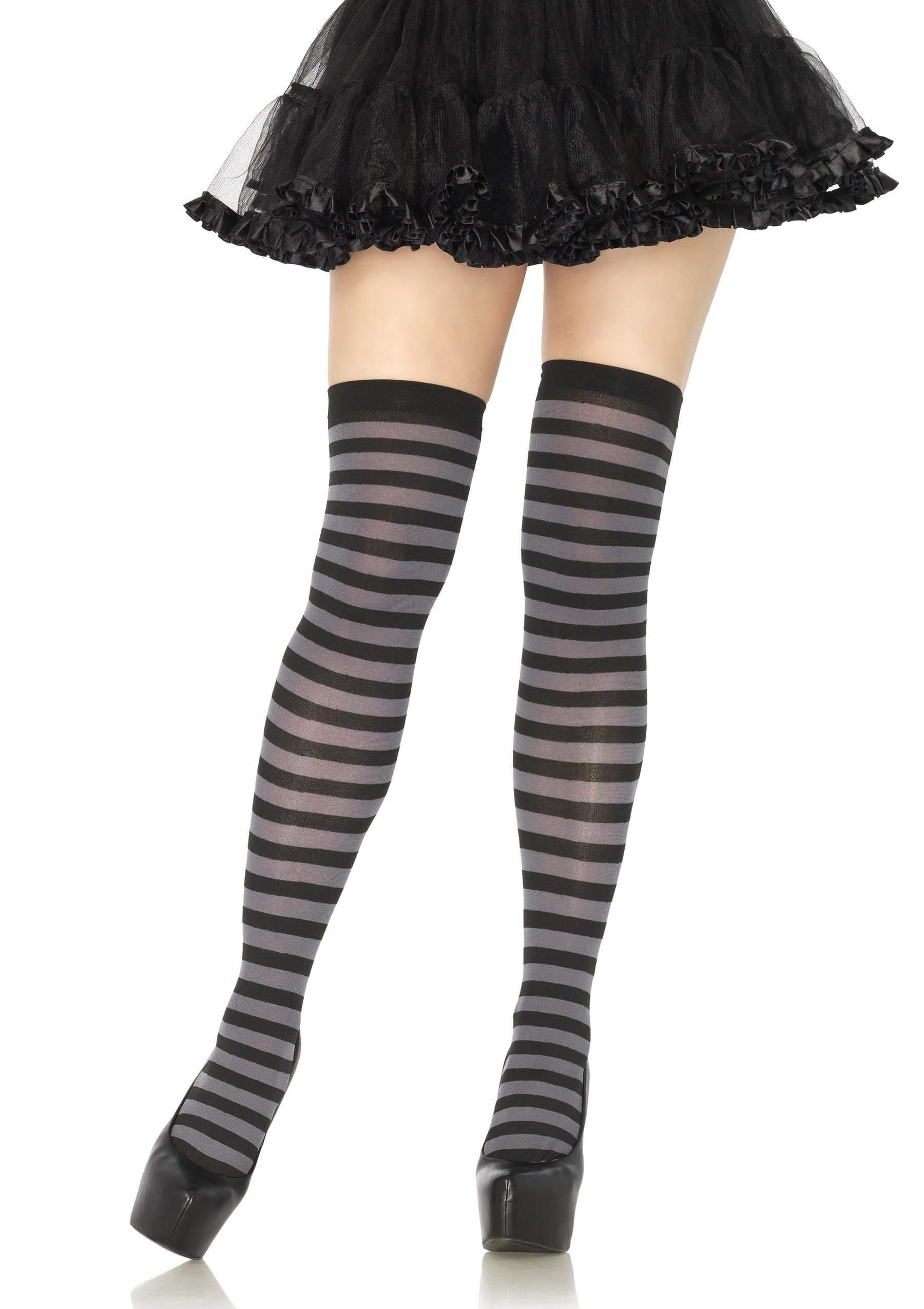 Leg Avenue Costume Accessories BLACK/GREY / O/S Striped Thigh High Stockings