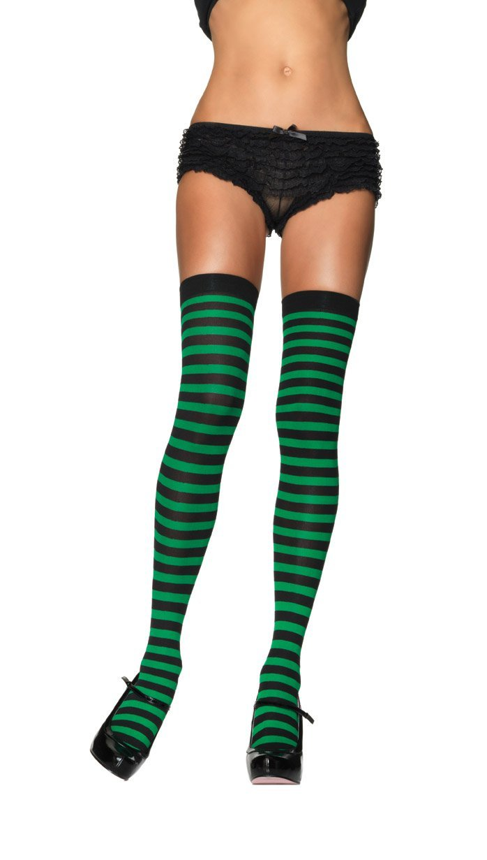 Leg Avenue Costume Accessories BLACK/KELL / O/S Striped Thigh High Stockings