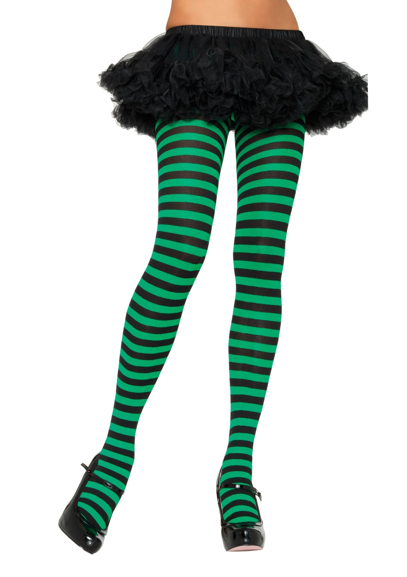 Leg Avenue Costume Accessories BLACK/KELLY GREEN / O/S Adult Nylon Stripe Tights