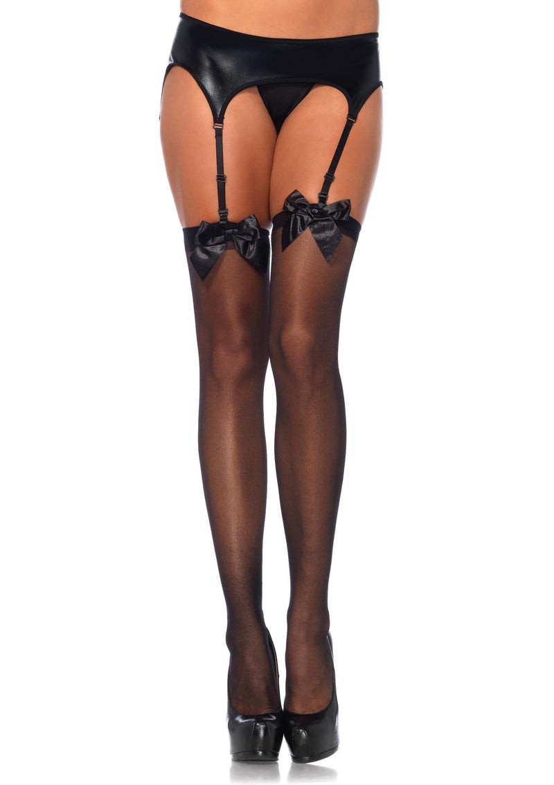 Leg Avenue Costume Accessories BLACK / O/S Adult Sheer Thigh Highs with Satin Bow