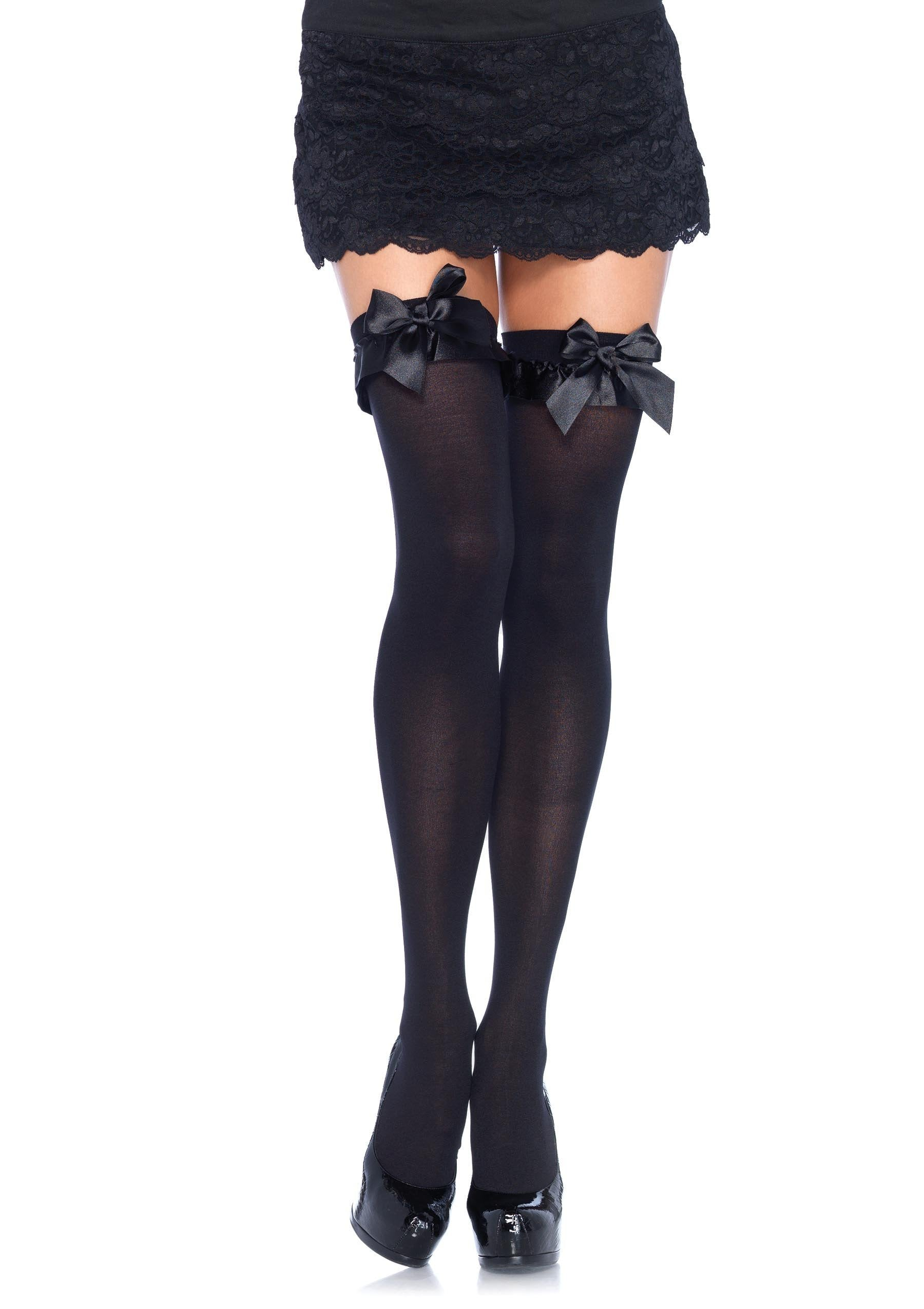 Leg Avenue Costume Accessories BLACK / O/S Thigh Highs with Ruffle & Bow