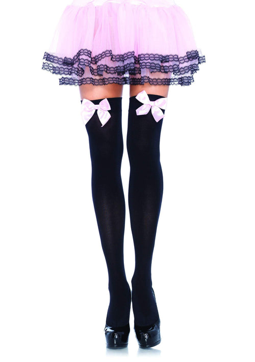 7b61c7c6966 Leg Avenue Costume Accessories BLACK PINK   O S Thigh High Stockings with  Bows