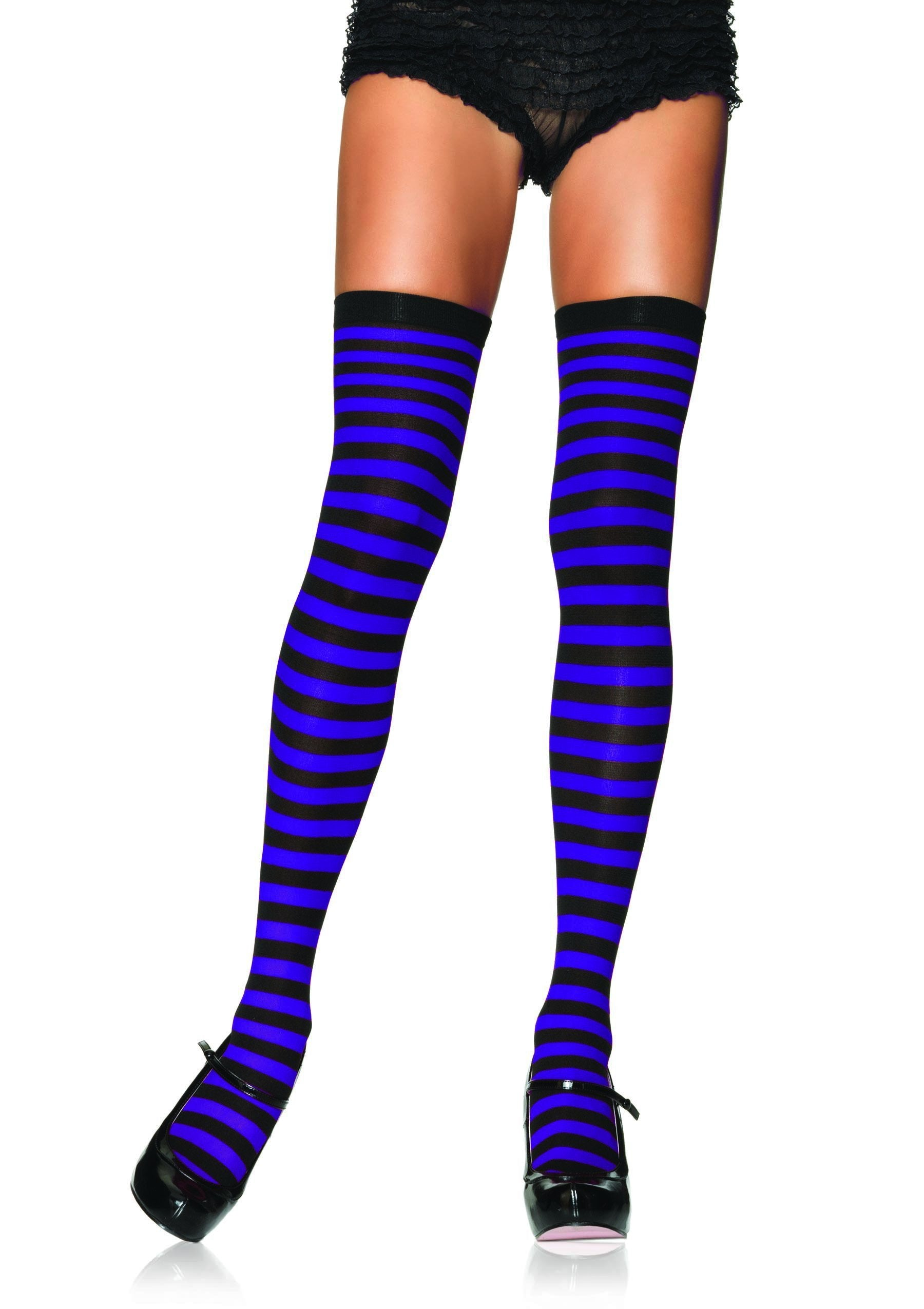 Leg Avenue Costume Accessories BLACK/PURP / O/S Striped Thigh High Stockings