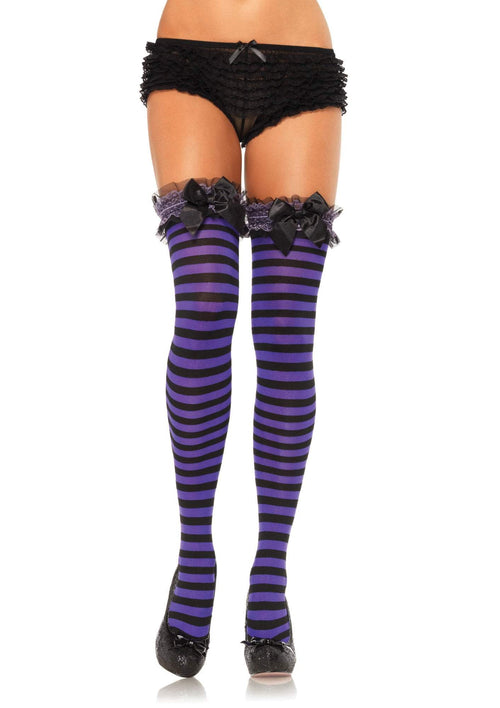 fdf1f13a84c Leg Avenue Costume Accessories BLACK PURPL   O S Garter Top Striped Thigh  Highs