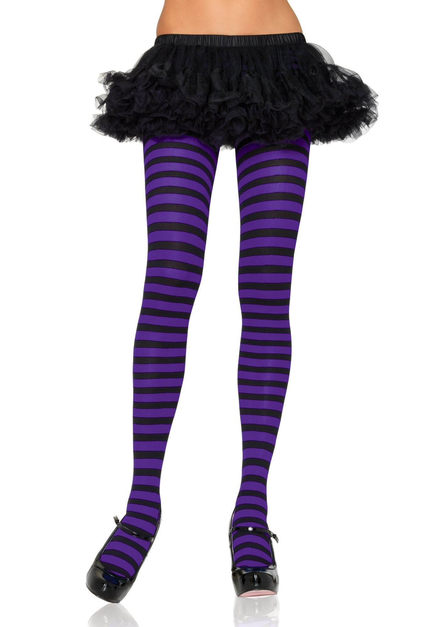 Leg Avenue Costume Accessories BLACK/PURPLE / O/S Adult Nylon Stripe Tights