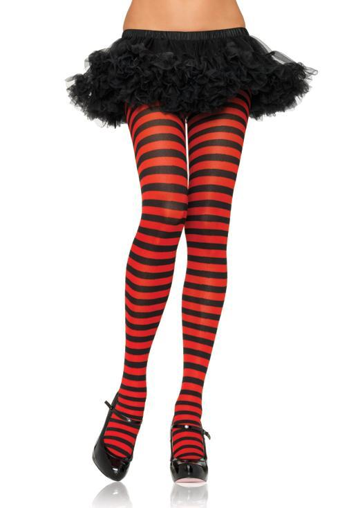 Leg Avenue Costume Accessories BLACK/RED / O/S Adult Nylon Stripe Tights