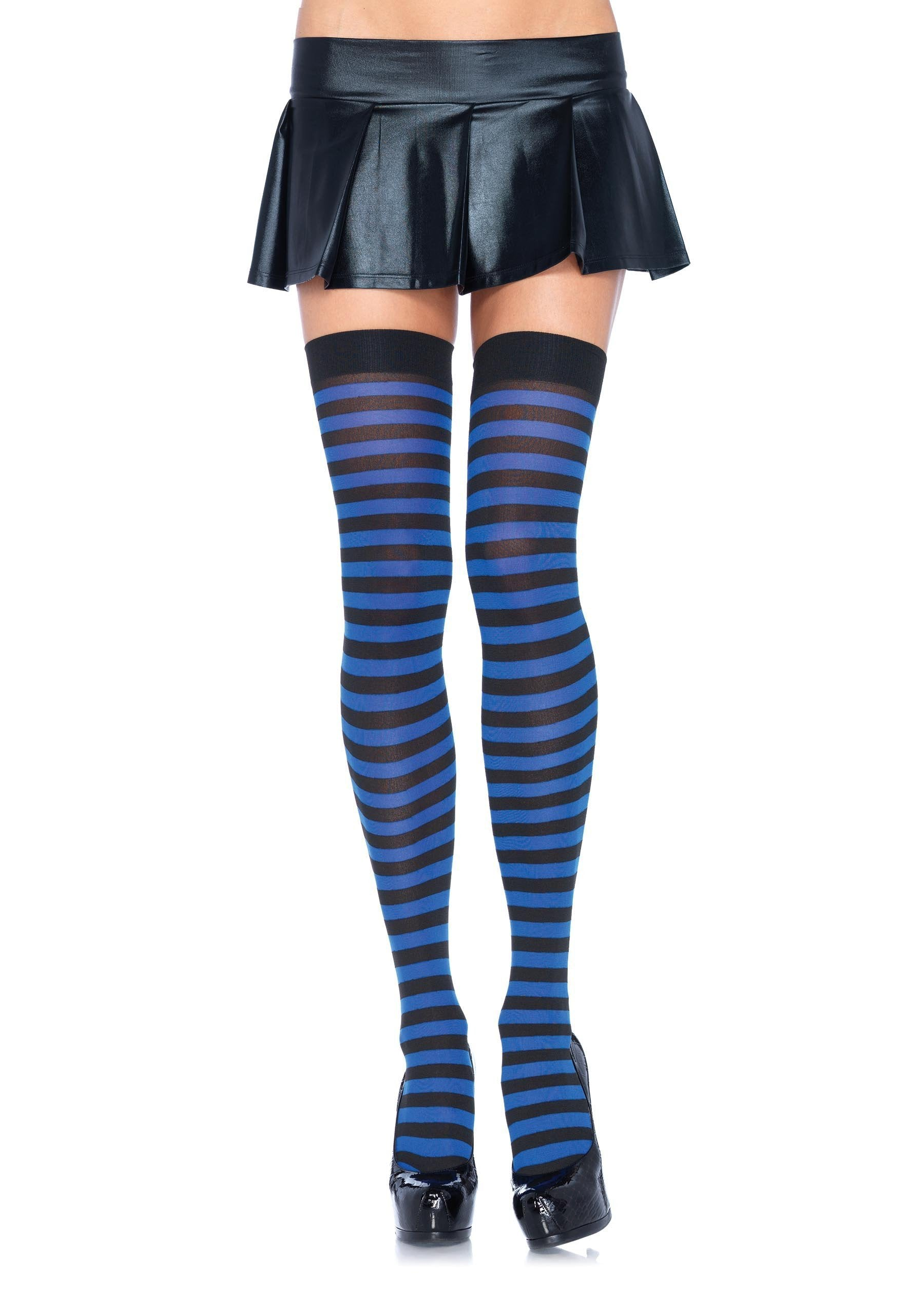 Leg Avenue Costume Accessories BLACK/ROYA / O/S Striped Thigh High Stockings