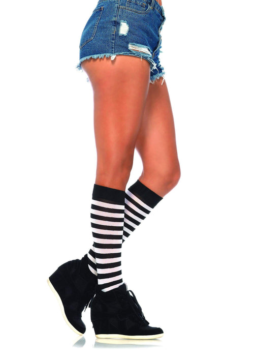 Leg Avenue Costume Accessories BLACK/WHIT / O/S Stripe Knee Highs