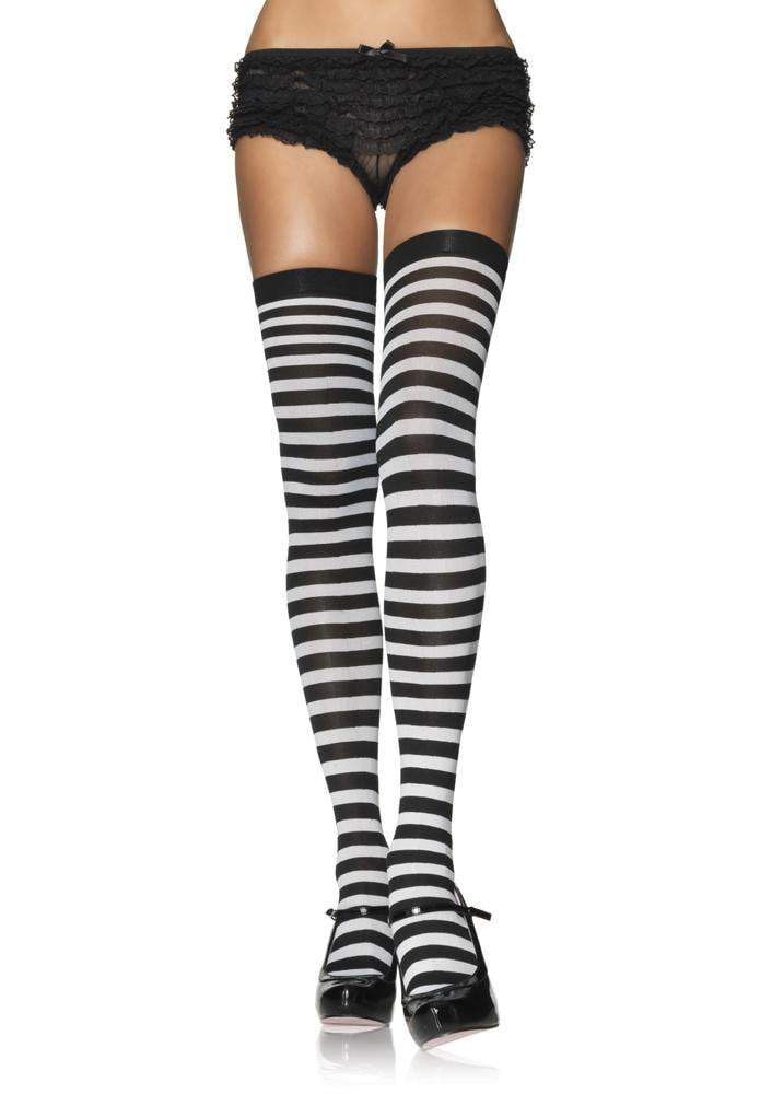Leg Avenue Costume Accessories BLACK/WHIT / O/S Striped Thigh High Stockings