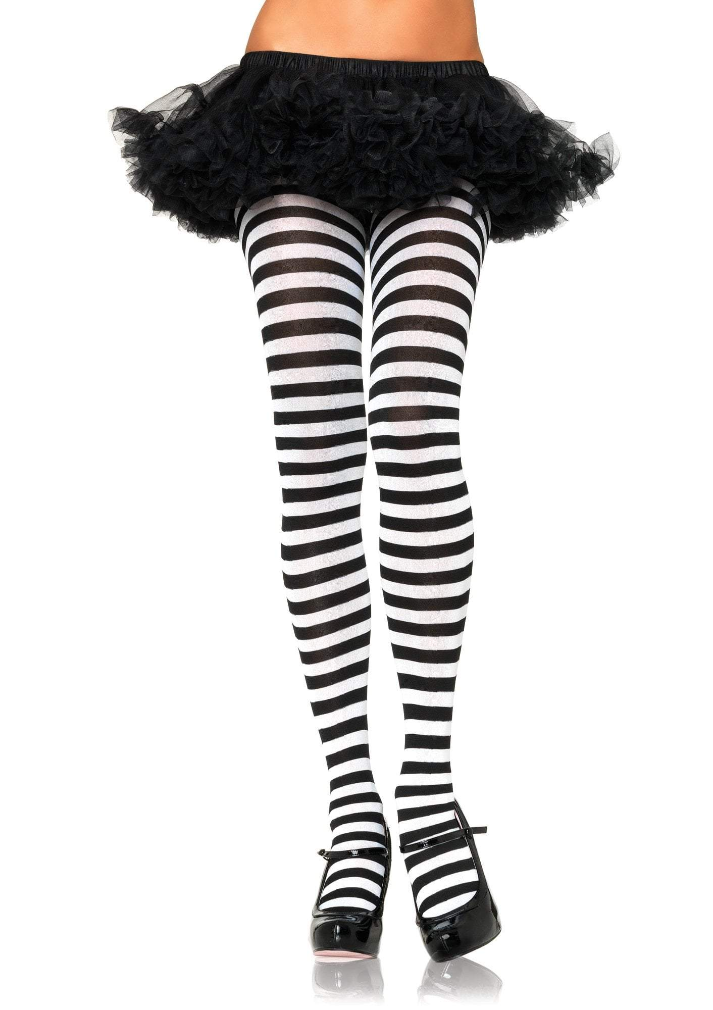 Leg Avenue Costume Accessories BLACK/WHITE / O/S Adult Nylon Stripe Tights