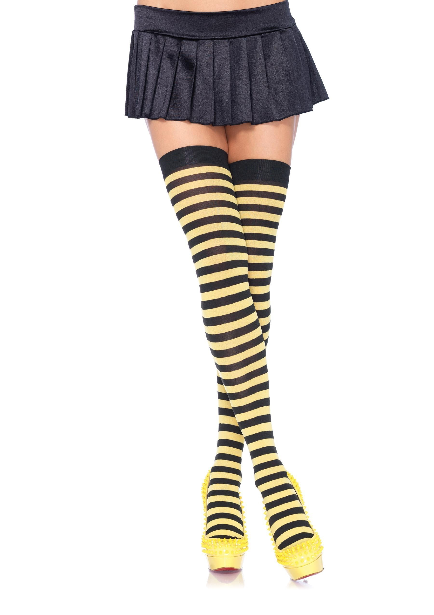 Leg Avenue Costume Accessories BLACK/YELL / O/S Striped Thigh High Stockings