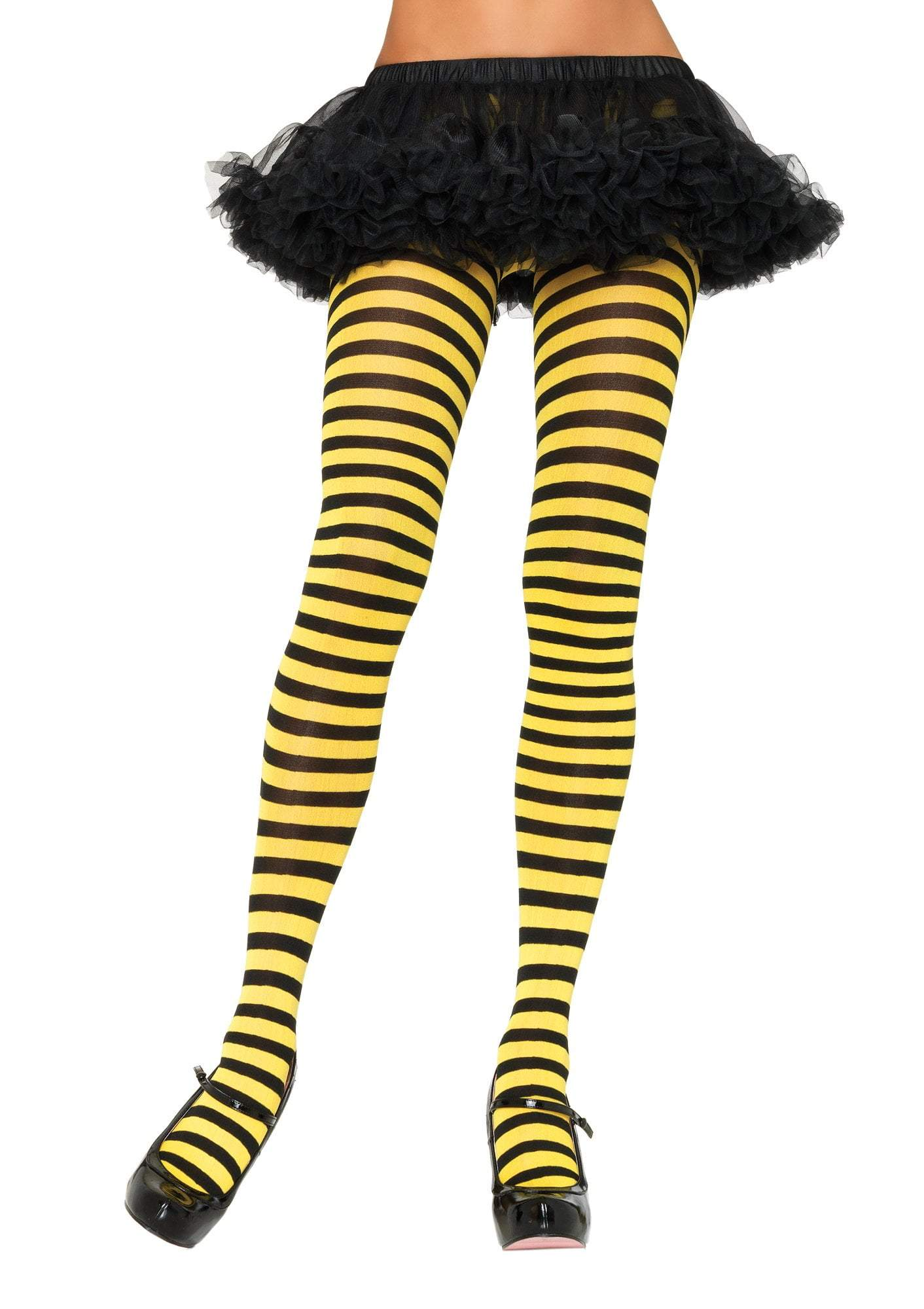 Leg Avenue Costume Accessories BLACK/YELLOW / O/S Adult Nylon Stripe Tights