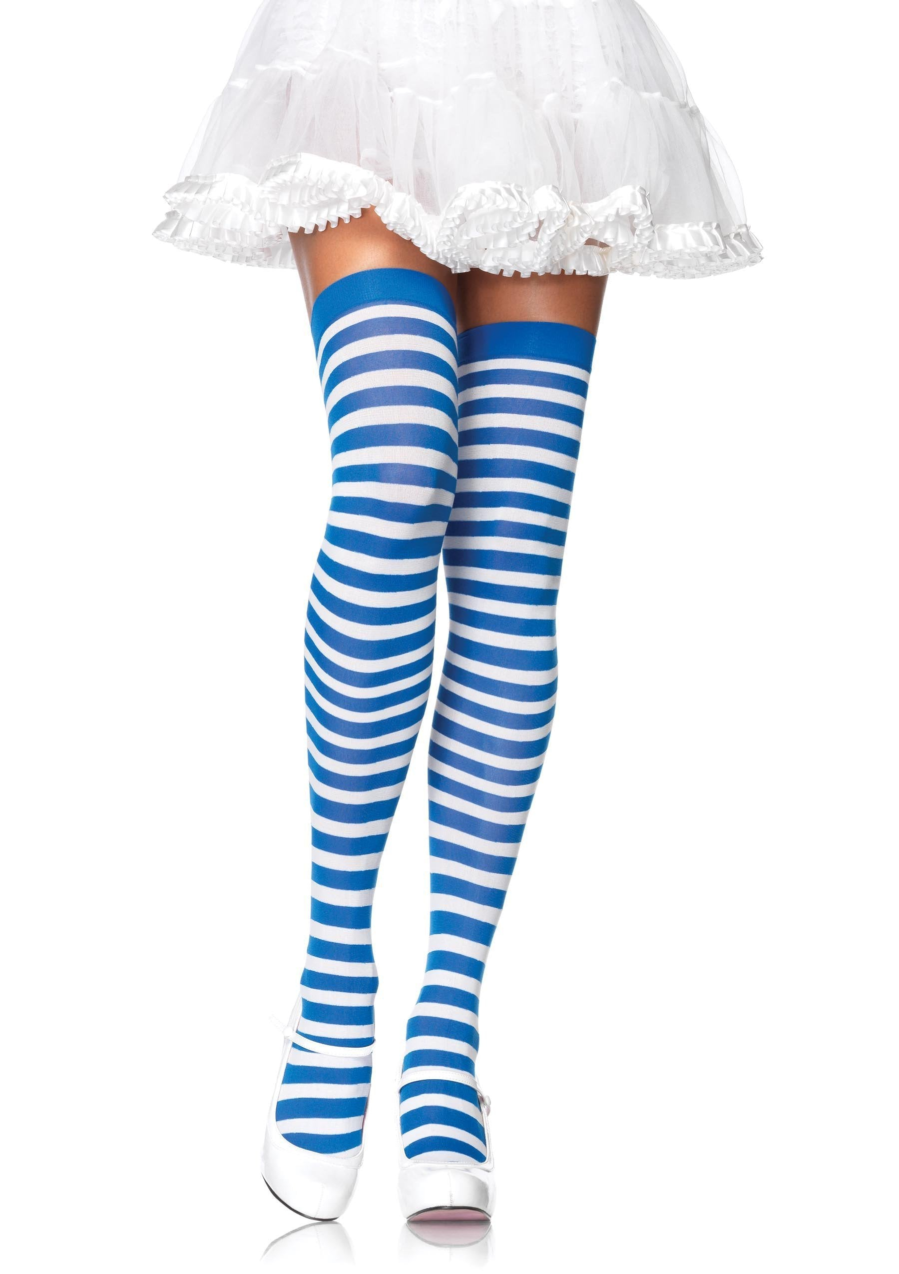 Leg Avenue Costume Accessories BLUE/WHITE / O/S Striped Thigh High Stockings