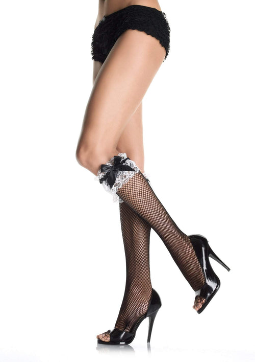 Leg Avenue Costume Accessories Fishnet Knee Highs with Lace Ruffle & Black Bow