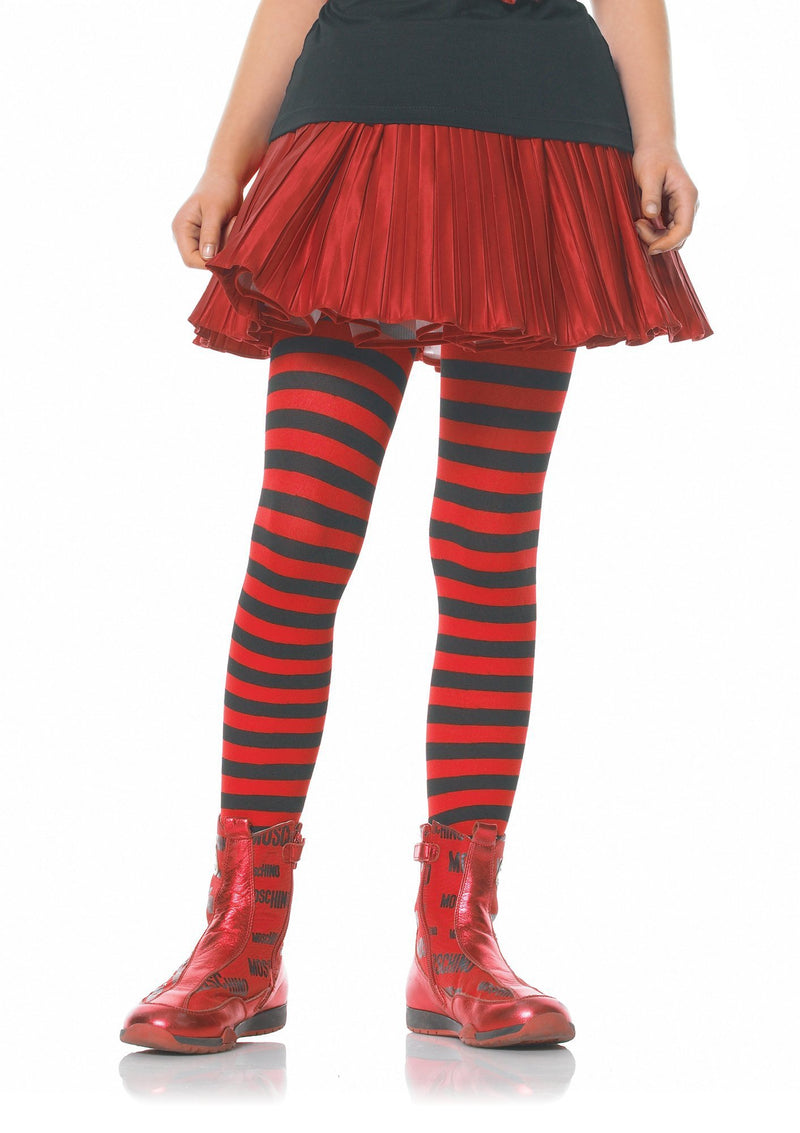 Leg Avenue Costume Accessories LARGE / BLACK/RED Girl Striped Tights