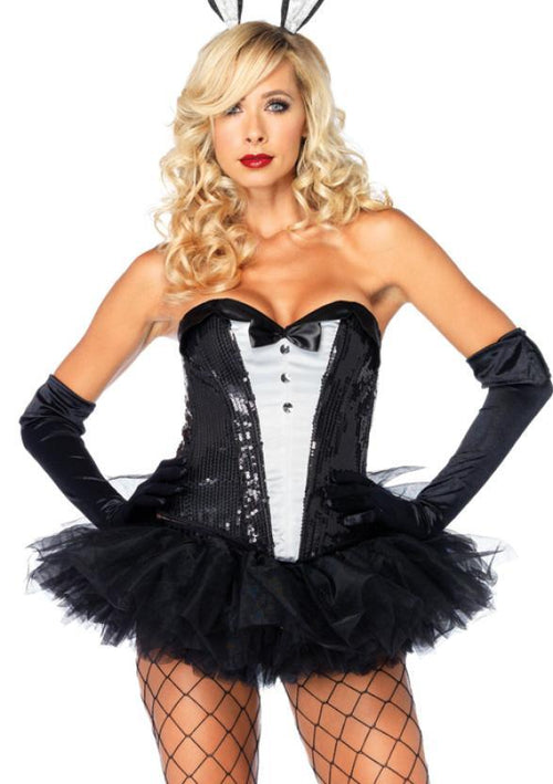 Leg Avenue Costume Accessories LARGE / BLACK/WHITE Sequin Tuxedo Corset