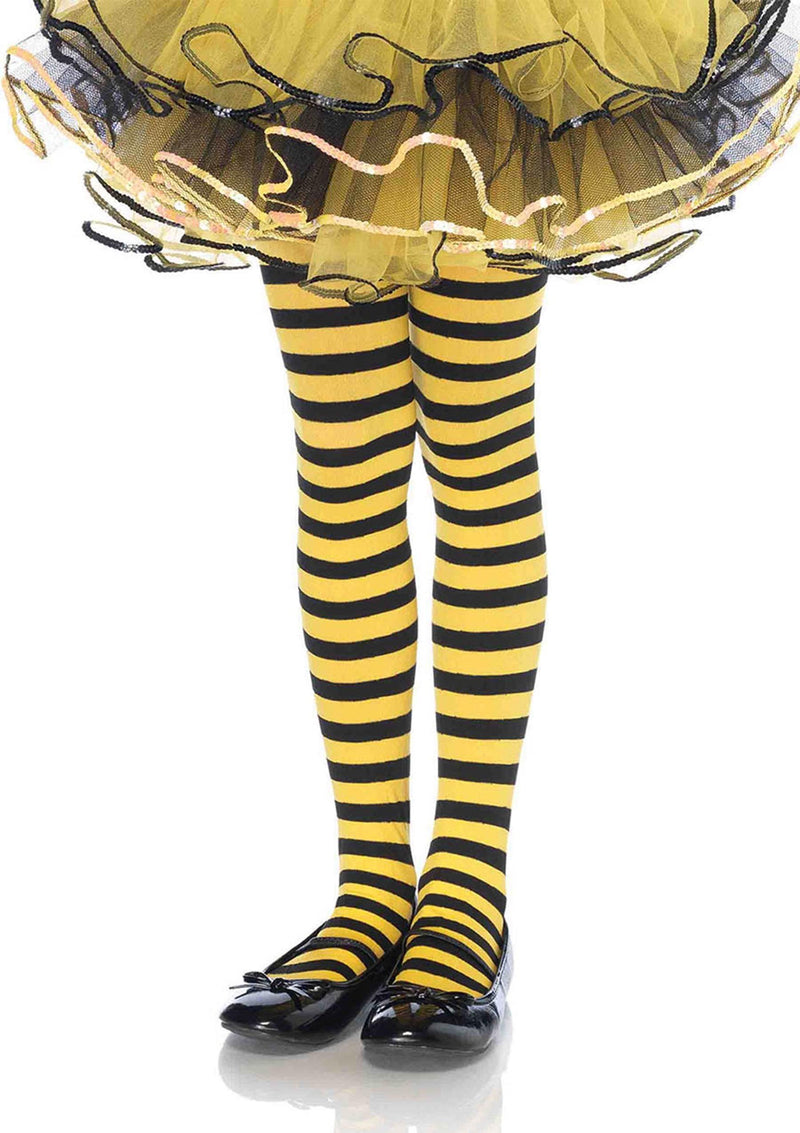 Leg Avenue Costume Accessories LARGE / BLACK/YELLOW Girl Striped Tights