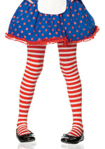 Leg Avenue Costume Accessories LARGE / RED/WHITE Girl Striped Tights