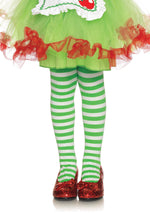 Leg Avenue Costume Accessories LARGE / WHITE/KELLY GRE Girl Striped Tights
