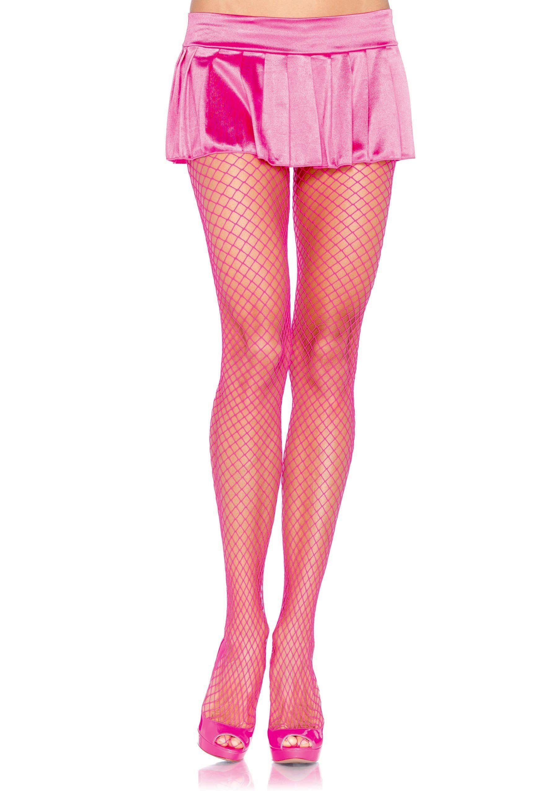 Leg Avenue Costume Accessories NEON PINK / O/S Spandex Fishnet Pantyhose