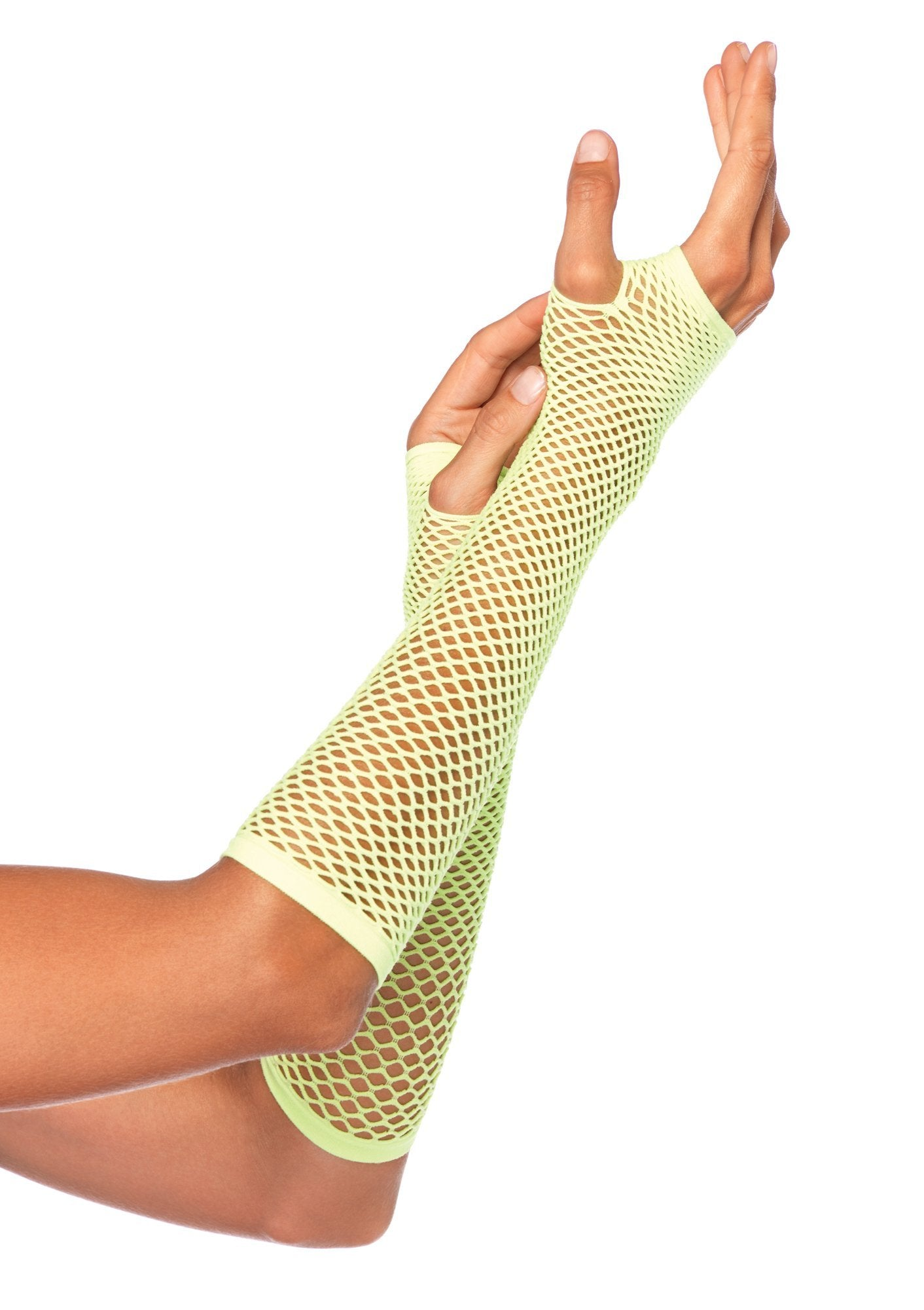 Leg Avenue Costume Accessories O/S / NEON GREEN Fishnet Fingerless Gloves