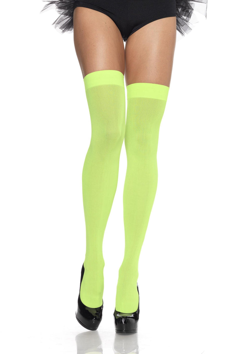 Leg Avenue Costume Accessories ONE SIZE / NEON GREEN Opaque Nylon Thigh Highs