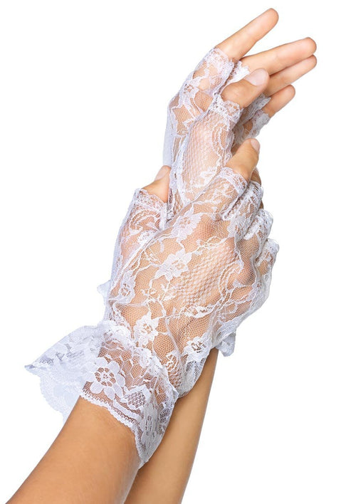 Leg Avenue Costume Accessories ONE SIZE / WHITE Fingerless Lace Wrist Gloves