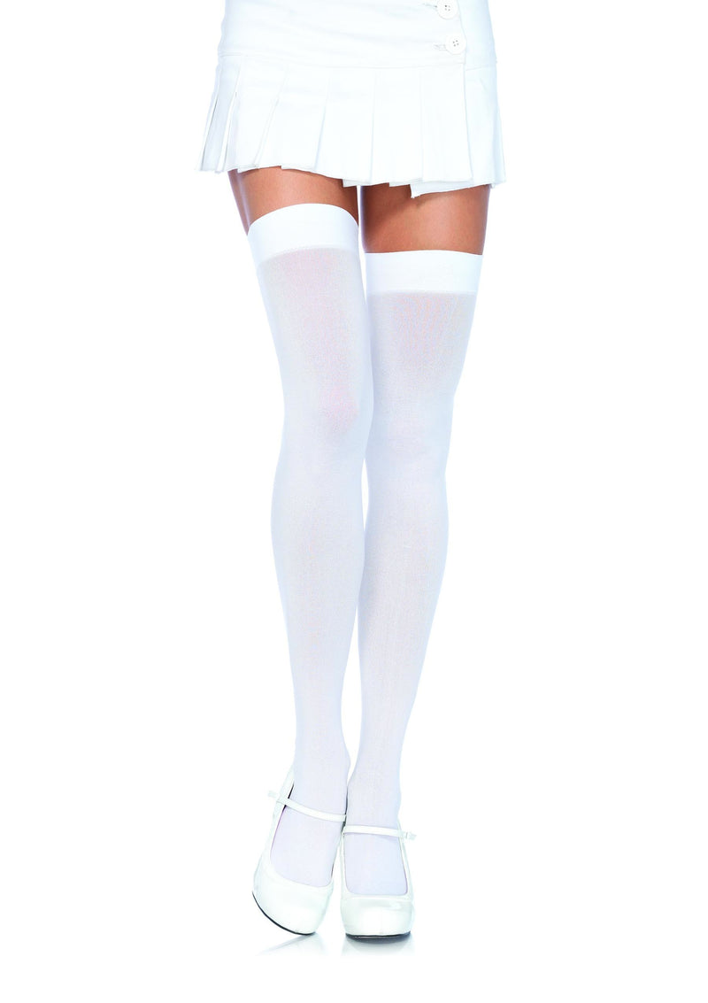 Leg Avenue Costume Accessories ONE SIZE / WHITE Opaque Nylon Thigh Highs