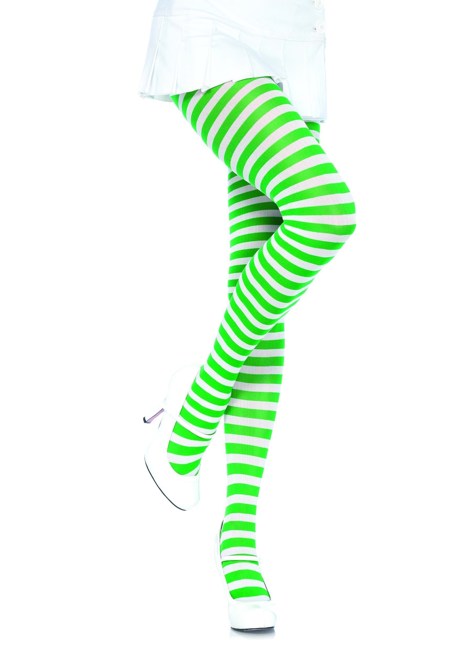Leg Avenue Costume Accessories WHITE/KELLY GREEN / O/S Adult Nylon Stripe Tights
