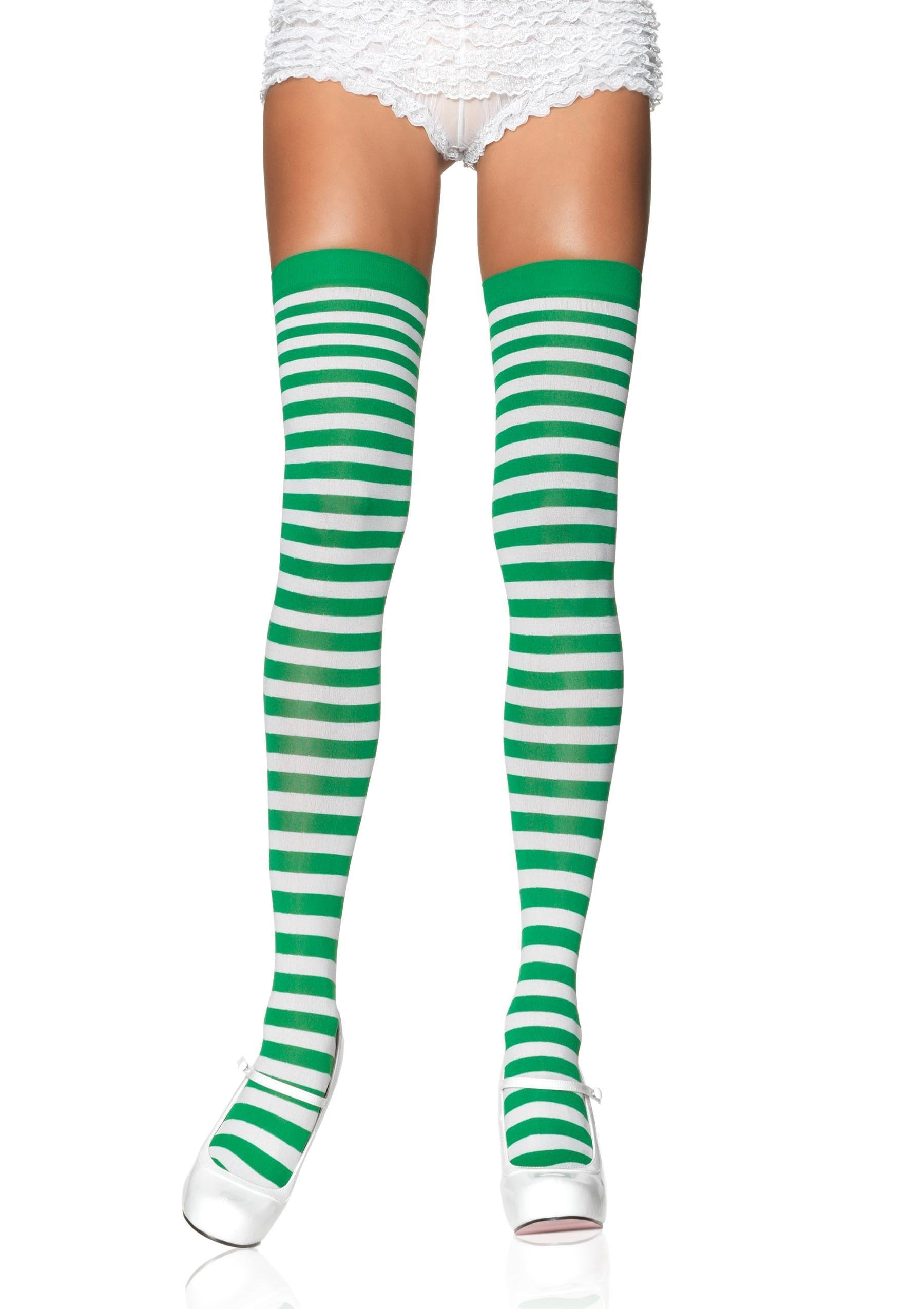 Leg Avenue Costume Accessories WHITE/KELLY / O/S Striped Thigh High Stockings