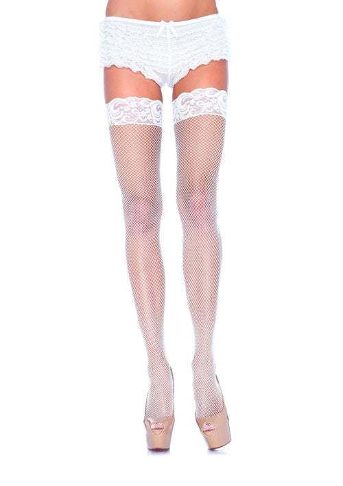 ddf1d0687 Leg Avenue Costume Accessories WHITE   O S Fishnet Thigh Highs with 3