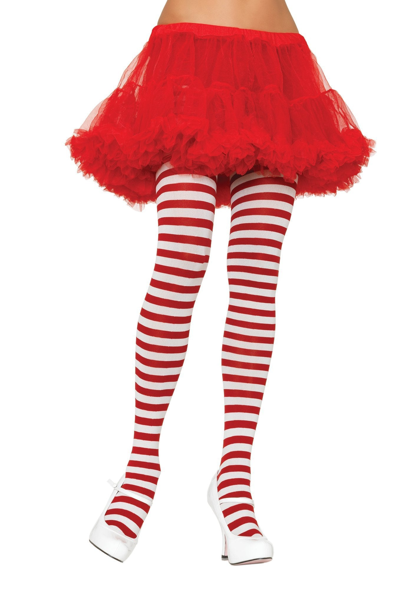 Leg Avenue Costume Accessories WHITE/RED / O/S Adult Nylon Stripe Tights