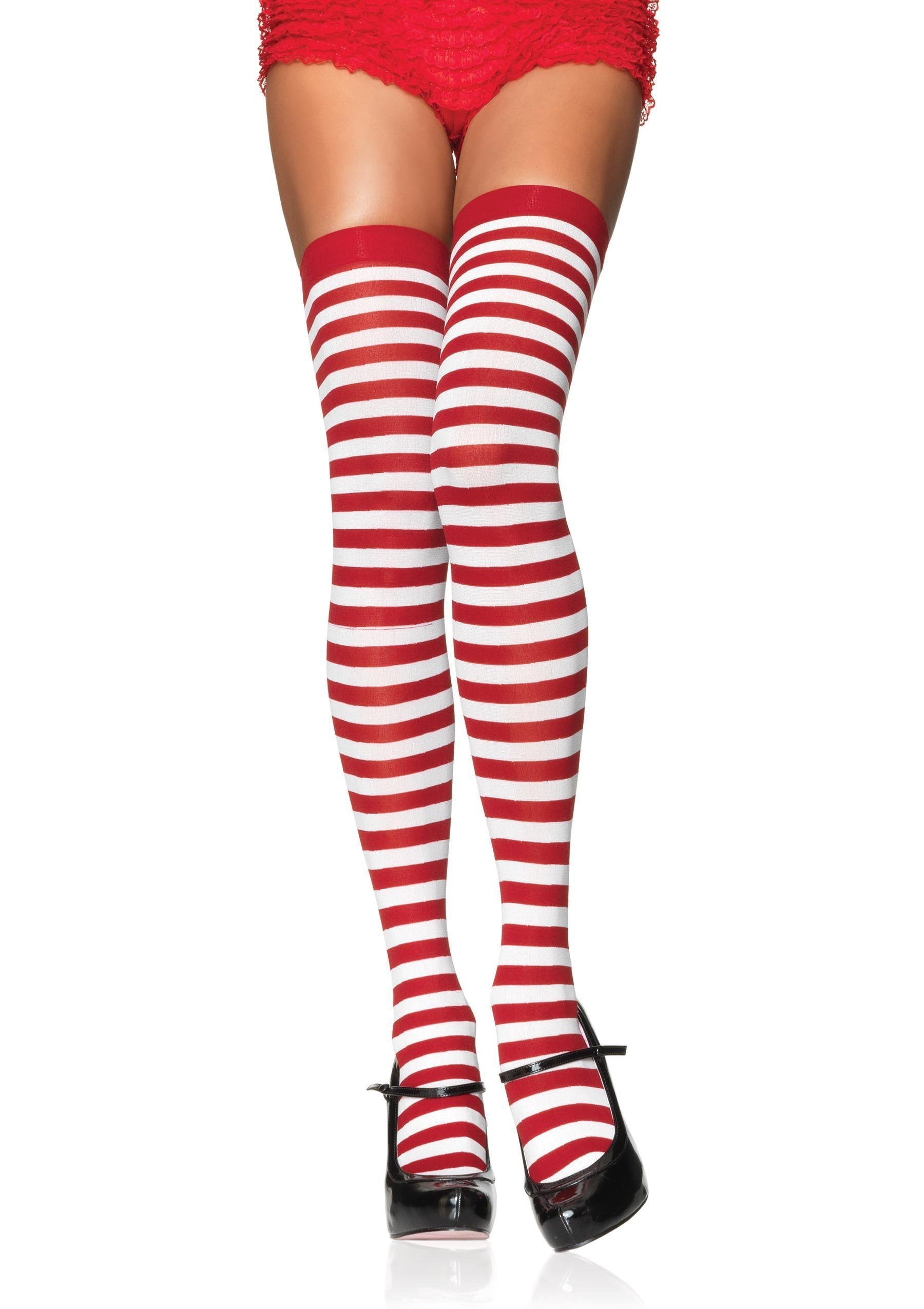 Leg Avenue Costume Accessories WHITE/RED / O/S Striped Thigh High Stockings