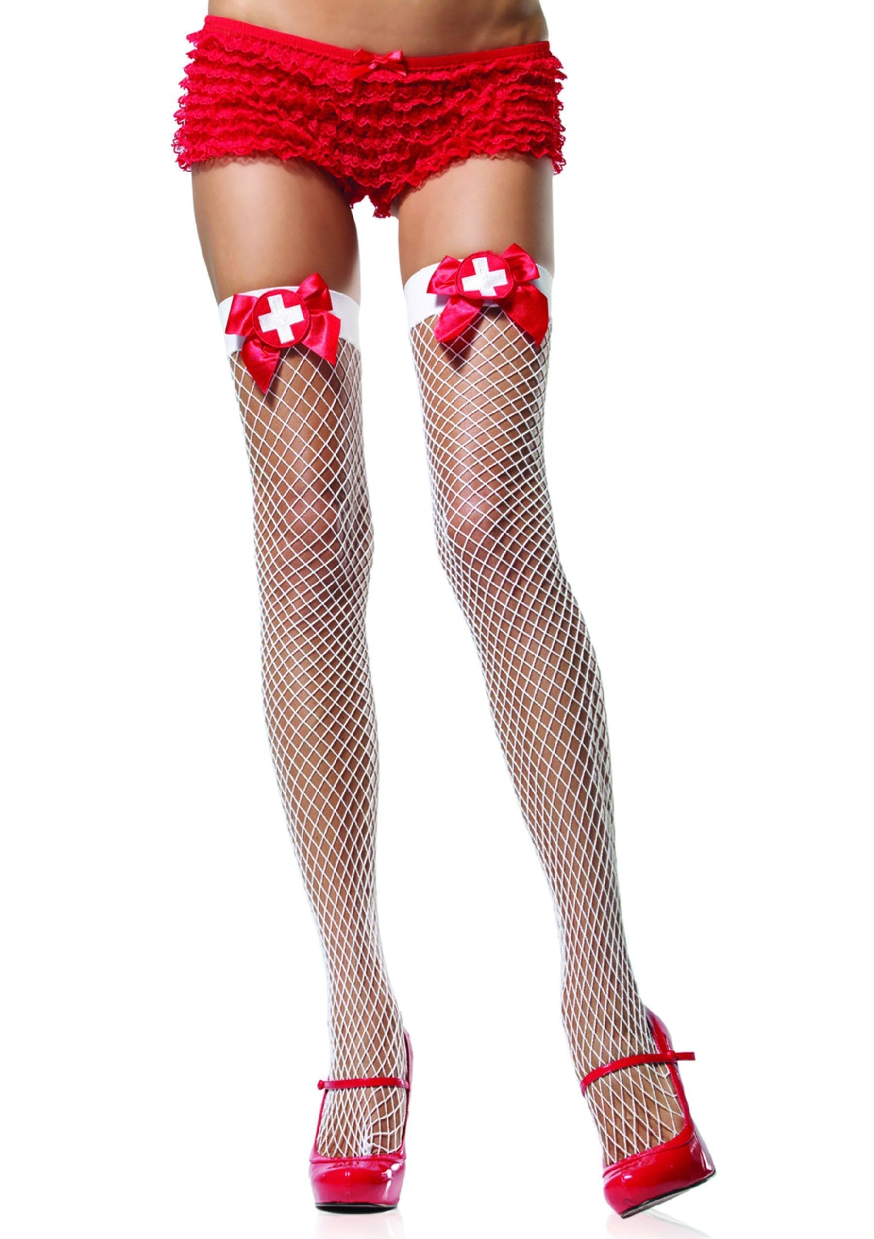Leg Avenue Costume Accessories WHITE/RED / O/S Thigh Highs Fishnets w/ Nurse Signs