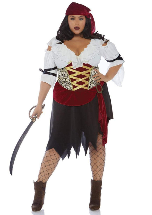 Leg Avenue Costumes 1X-2X Plus Size High Seas Wench Pirate Costume