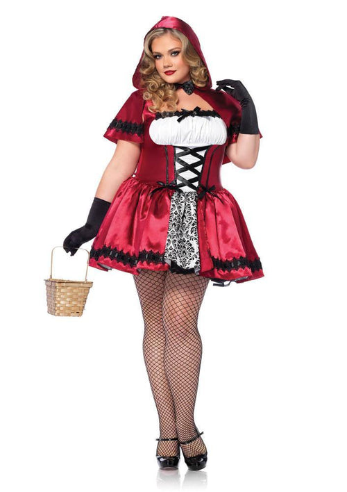 Leg Avenue Costumes 1X-2X / RED/WHITE Glamorous Red Riding Hood Plus