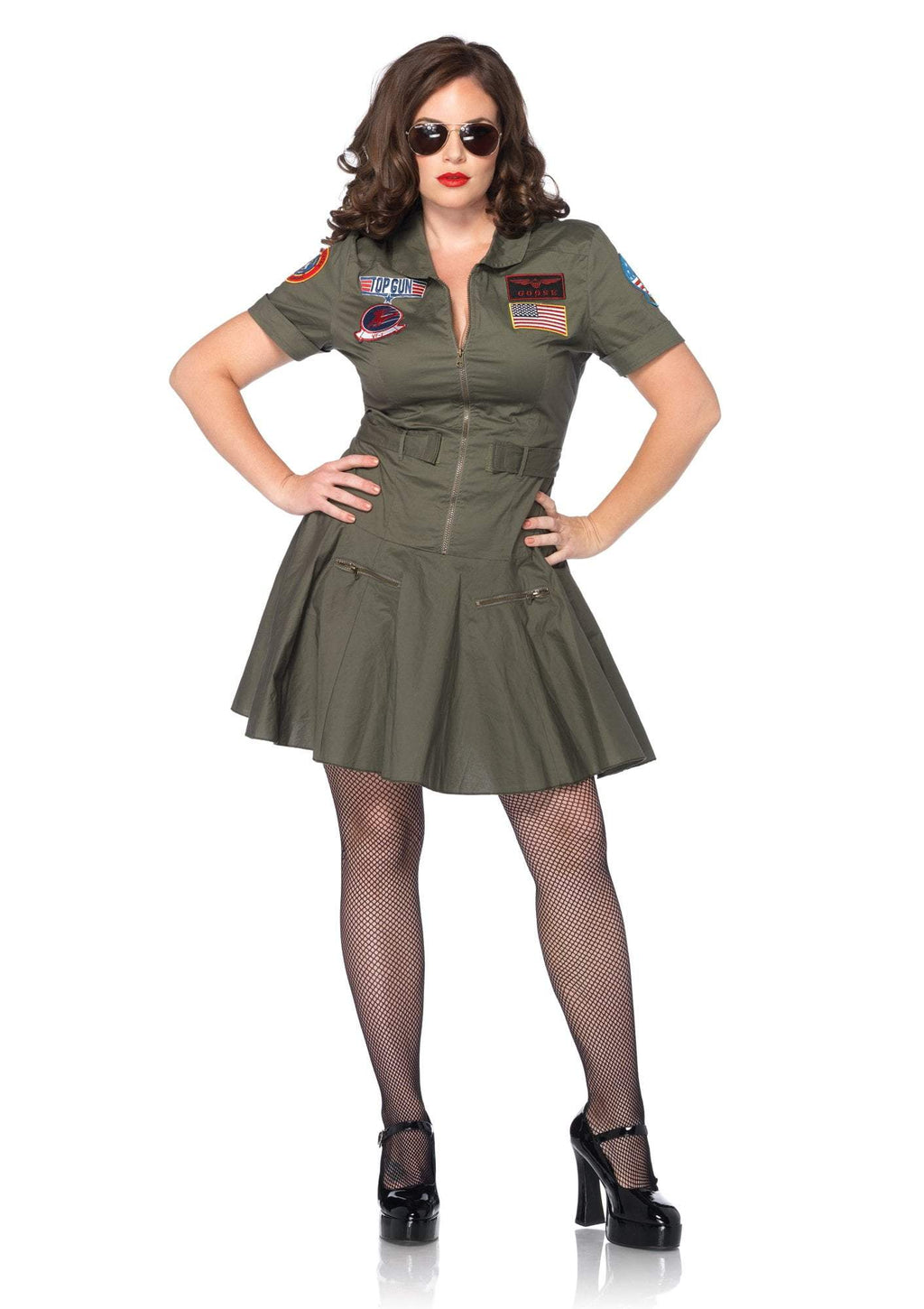 Leg Avenue Costumes 1X-2X Top Gun Flight Dress Plus Size Costume