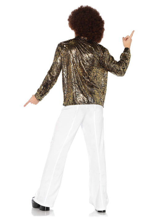 Leg Avenue Costumes Adult Gold Zebra Disco Shirt