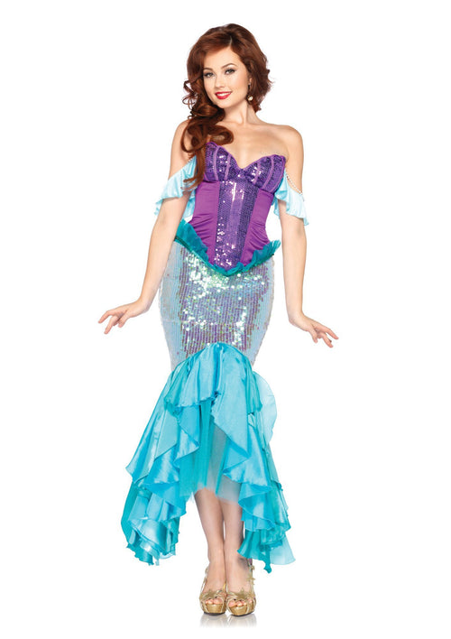 Leg Avenue Costumes LARGE / AQUA/PURPLE Ariel Adult Deluxe Costume