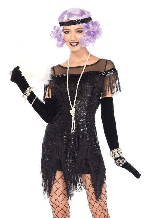 Leg Avenue Costumes LARGE / BLACK Adult Roaring 20s Trixie Flapper Costume