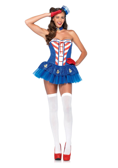 Leg Avenue Costumes LARGE / BLUE Starboard Sweetie Costume