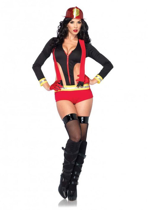 Leg Avenue Costumes MEDIUM / BLACK/RED Flirty Firefighter Costume