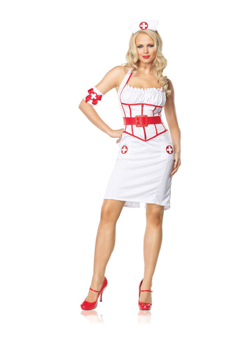 Leg Avenue Costumes WHITE/RED / LARGE Adult On Call Nurse Costume