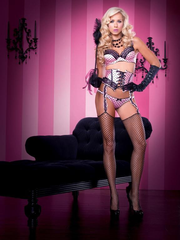 Leg Avenue Staging Pink & Black Polka Dot Alluring Satin Bra & Panty Set